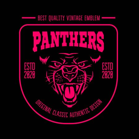 Panthers badge - vector vintage emblem on dark