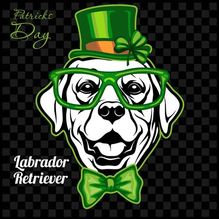 Head of a Labrador Retriever Dog and elements of St. Patricks Day. Vector illustration isolated on dark