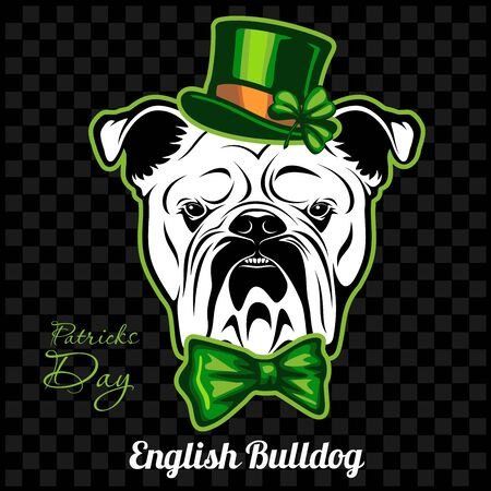 Head of a English Bulldog Dog and elements of St. Patricks Day. Vector illustration isolated on dark