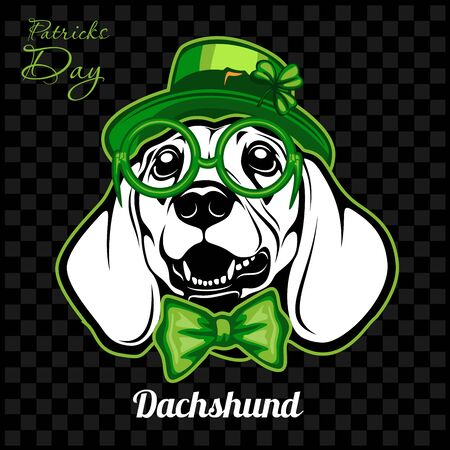 Head of a Dachshund Dog and elements of St. Patricks Day. Vector illustration isolated on dark Foto de archivo - 140897405