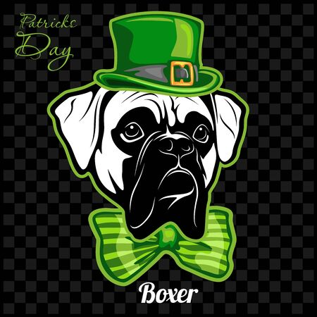 Head of a Boxer Dog and elements of St. Patricks Day. Vector illustration isolated on dark
