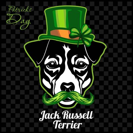 Head of a Jack Russell Terrier Dog and elements of St. Patricks Day. Vector illustration isolated on dark Ilustracja