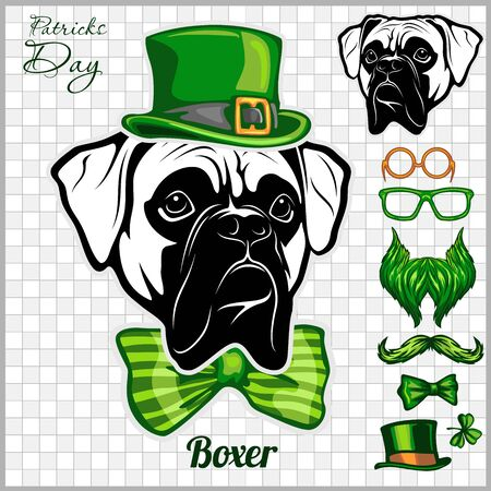 Boxer Dog and design elements of St. Patricks Day - Temblate for St. Patricks Day - elements, objects, icons. Vector illustration isolated on light