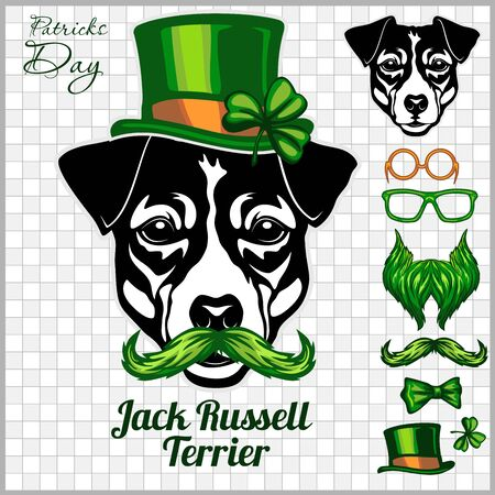 Jack Russell Terrier Dog and design elements of St. Patricks Day - Temblate for St. Patricks Day - elements, objects, icons. Vector illustration isolated on light Ilustracja