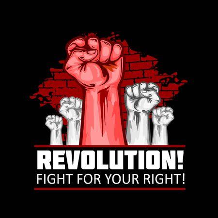 Human Fists Up Revolution - Vector Illustration. Fist of revolution. Black background. Illustration