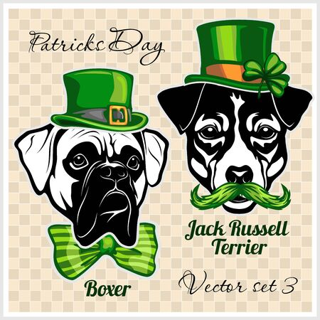 Boxer and Jack Russell Terrier - Dog Heads and elements of St. Patricks Day. Vector designs