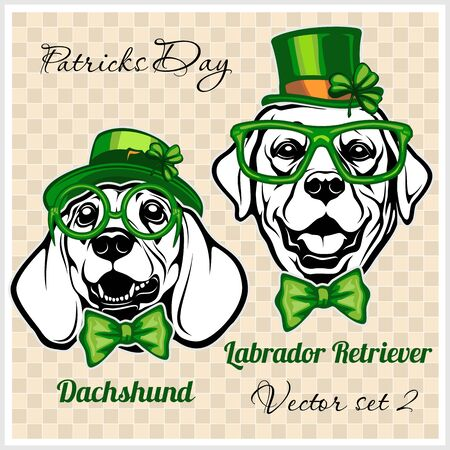 Dachshund and Labrador Retriever - Dog Heads and elements of St. Patricks Day. Vector designs Foto de archivo - 140897224