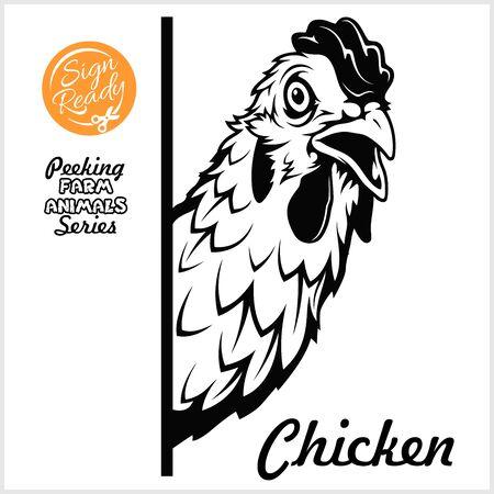 Peeking chicken - Cheerful chicken peeking out - face head isolated on white - vector stock