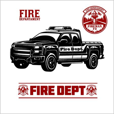 Fire Truck - Fire departament emblem vector illustration and badge. Vectores