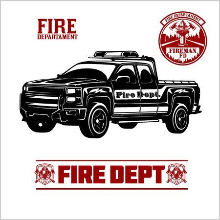 Fire Truck - Fire departament emblem vector illustration and badge. Stock Illustratie