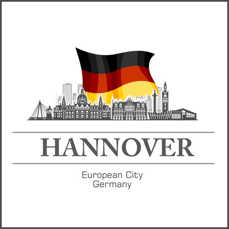 Hannover City skyline black and white silhouette. Vector illustration.  イラスト・ベクター素材