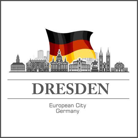 Dresden City skyline black and white silhouette. Vector illustration.