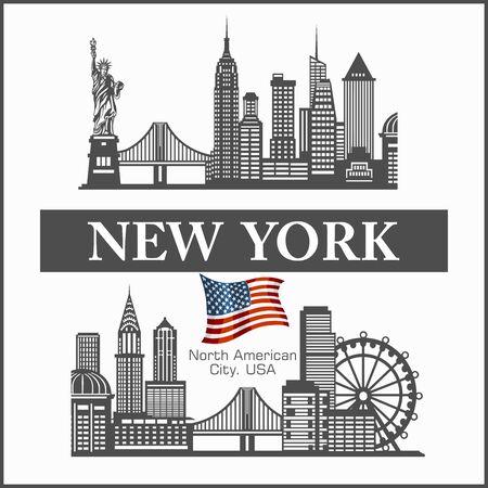 New York city skyline detailed silhouette United States of America. Vector illustration on white.