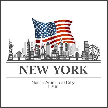 New York city skyline detailed silhouette on USA flag. Vector illustration on white. Vectores