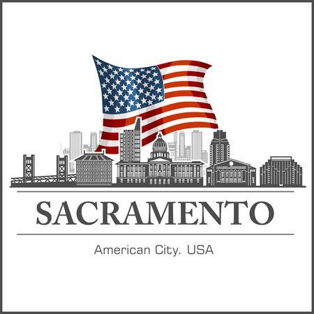 Sacramento city skyline detailed silhouette on USA flag. Vector illustration on white.