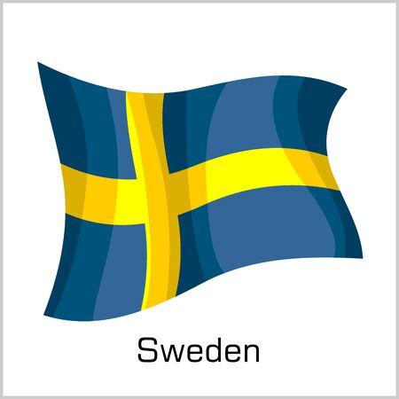 Swedish flag, flag of Sweden vector illustration