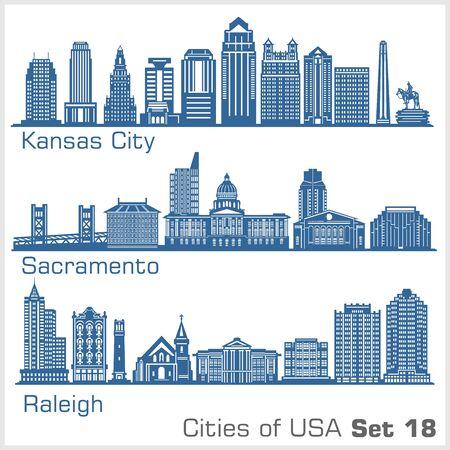 Cities of USA - Kansas City, Sacramento, Raleigh. Detailed architecture. Trendy vector illustration.