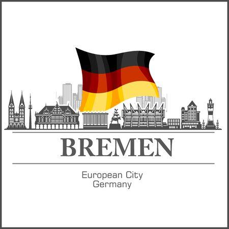 Bremen City skyline black and white silhouette. Vector illustration.