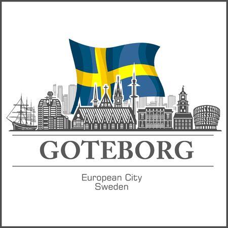 Goteborg City skyline black and white silhouette. Vector illustration.