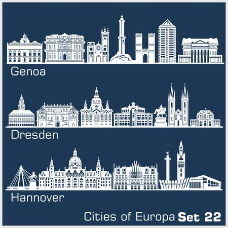 City in Europe - Genoa, Dresden, Hannover. Detailed architecture.