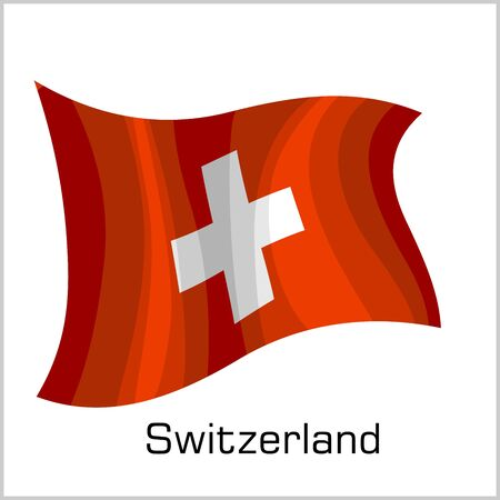 Swiss flag, flag of Switzerland vector illustration