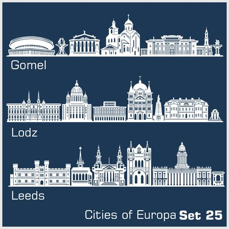 European cities - Gomel, Lodz, Leeds. Detailed architecture.