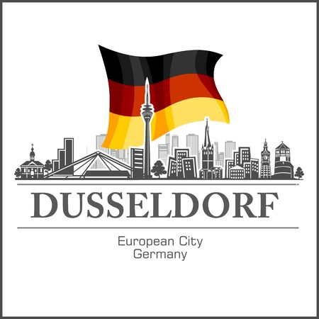 Dusseldorf City skyline black and white silhouette. Vector illustration.