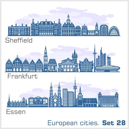 European cities - Essen, Sheffield, Frankfurt. Detailed architecture.