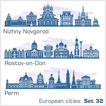 Nizhny Novgorod, Rostov, Perm City skyline set. Russia. Vector silhouette on white.