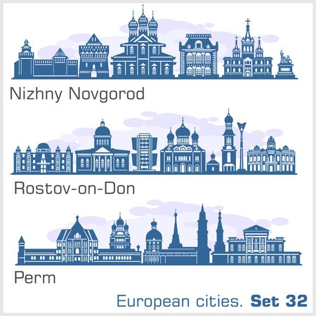 Nizhny Novgorod, Rostov, Perm City skyline set. Russia. Vector silhouette on white.