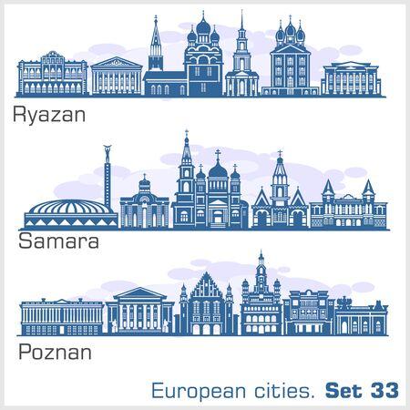 Ryazan, Samara, Poznan - European City skyline set. Vector silhouette on white.