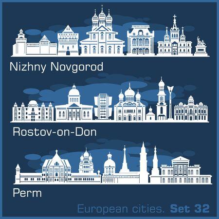 Nizhny Novgorod, Rostov, Perm City skyline set. Russia. Vector silhouette on blue.