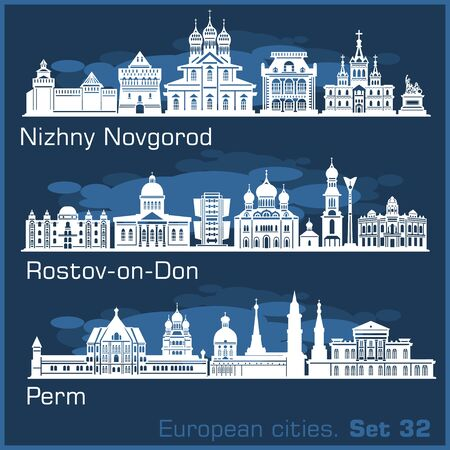 Nizhny Novgorod, Rostov, Perm City skyline set. Russia. Vector silhouette on blue. Illustration