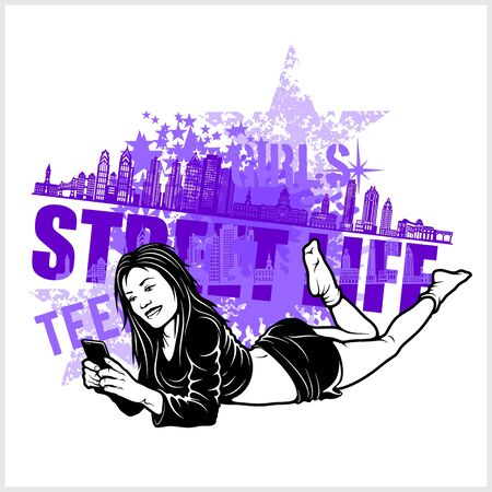 Teen girl is lying with a smartphone - Grunge Composition - Street Life and hip hop Illustration