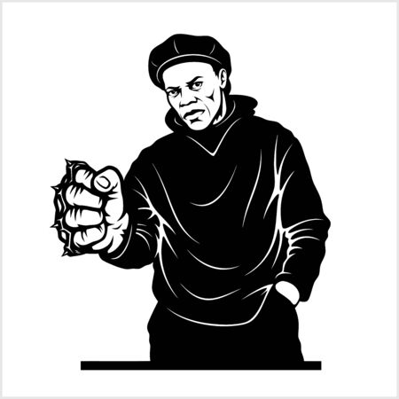 Man with brass knuckles. Gangster - Ghetto Warriors. Vector illustration isolated on white