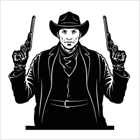 Gangster with two pistols. Sheriff with colts. Vector illustration Çizim