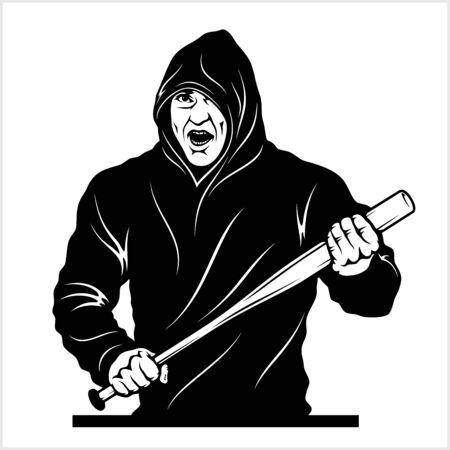 Man with a baseball bat. Thug - Ghetto Warrior. Vector illustration isolated on white