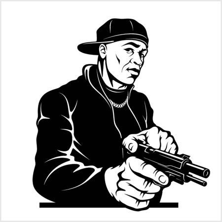 Man with Gun. Ghetto Warriors. Vector illustration isolated on white