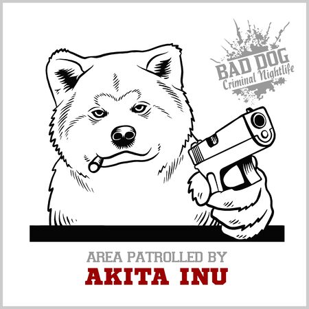 Akita Inu dog with gun and cigar - Akita Inu gangster. Head of angry Akita Inu isolated for easy edition.