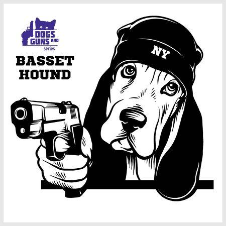 Basset Hound Hund mit Gewehr - Basset Hound Gangster. Kopf des wütenden Basset Hound