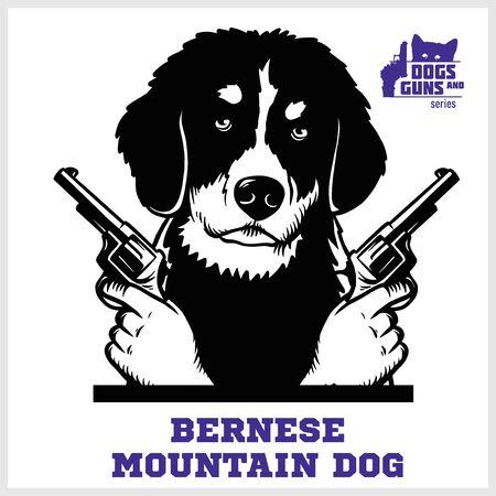 Bernese Mountain Dog with revolvers gun - Bernese Mountain Dog gangster. Head of Funny Bernese Mountain Dog Illustration