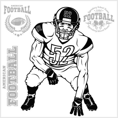 American football player isolated on the white Illusztráció