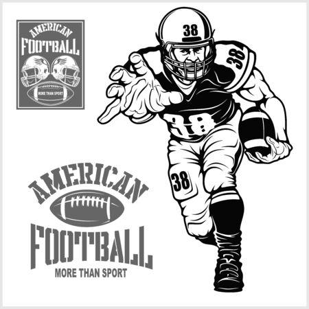 American football player isolated on black background Illusztráció