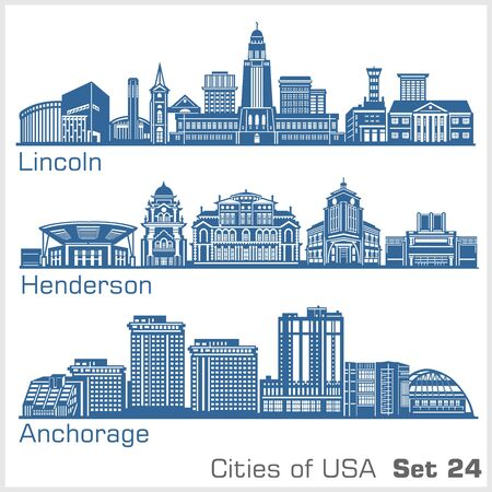 Cities of USA - Lincoln, Henderson, Anchorage. Detailed architecture. Trendy vector illustration.