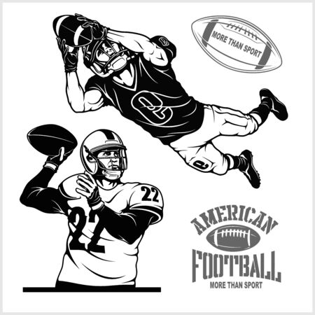 American football players holding ball, isolated vector silhouette. Team sport