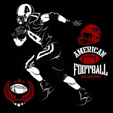 American football player and emblems isolated on black