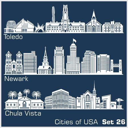 Cities of USA - Toledo, Newark, Chula Vista. Detailed architecture. Trendy vector illustration. Ilustrace