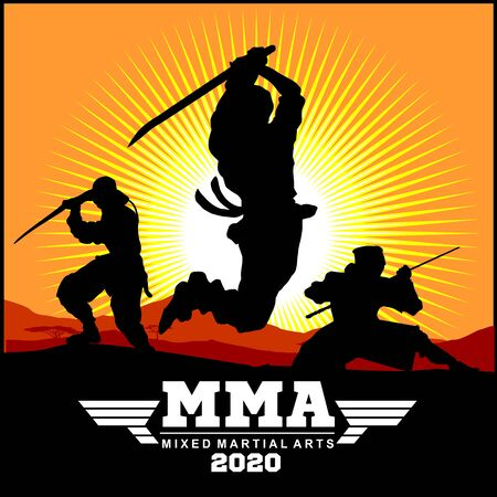 Silhouettes of Ninja Warriors against a Landscape 写真素材 - 148962204