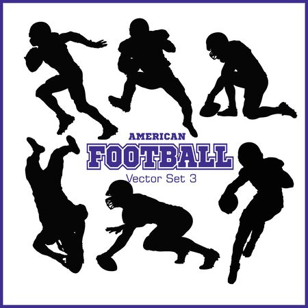 Silhouettes American football players isolated on the white