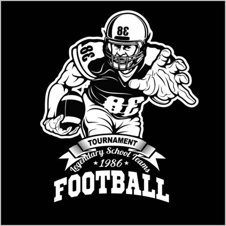 American football player isolated on black background Illustration